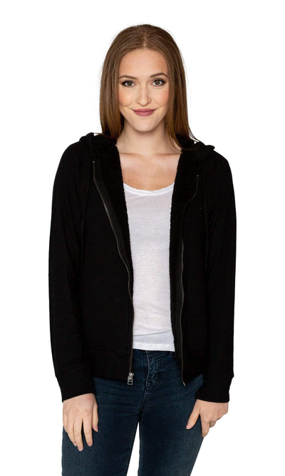 Velvet by Graham & Spencer Rochelle Cozy Jersey Fleece Lined Hoodie-Velvet-Vintage Fringe
