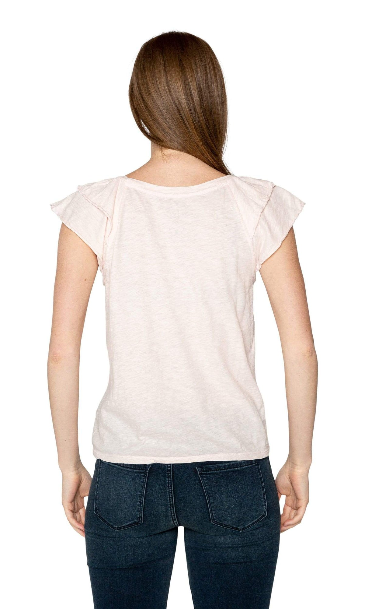 Velvet by Graham & Spencer Bethanie Cotton Slub Ruffle Sleeve Tee