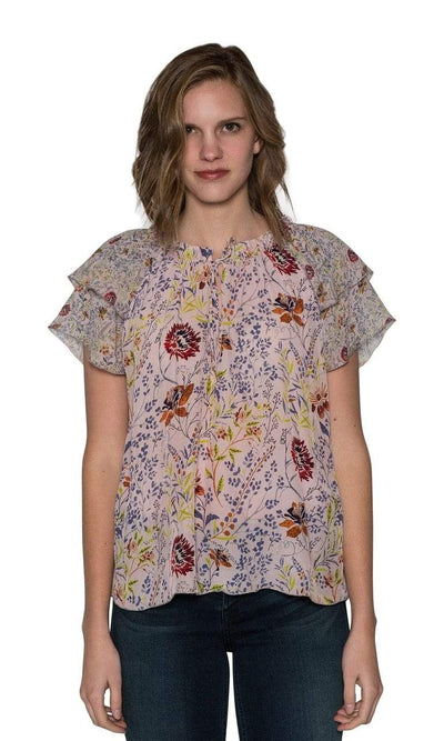 Velvet by Graham & Spencer Angel Floral Printed Viscose Tie Top-Velvet-Vintage Fringe