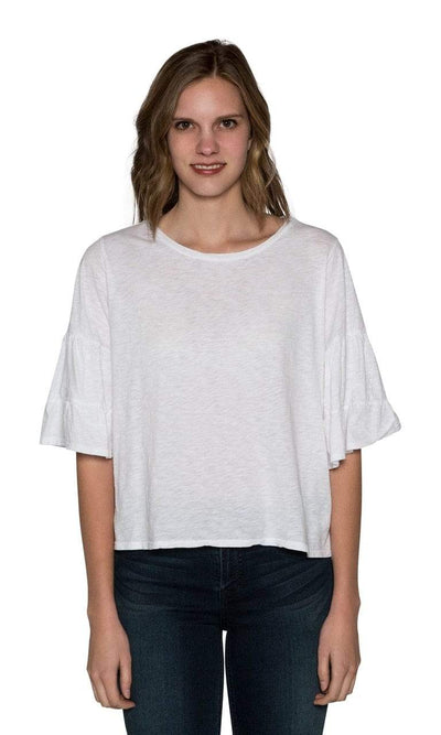 Velvet by Graham & Spencer Ellis Cotton Slub Ruffle Tee-Velvet-Vintage Fringe