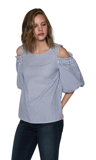 Velvet by Graham & Spencer Bruna Cotton Stripe Cold Shoulder Blouse-Velvet-Vintage Fringe