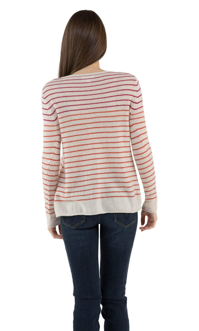 Velvet by Graham & Spencer Adarah Striped Cashmere Sweater-Velvet-Vintage Fringe