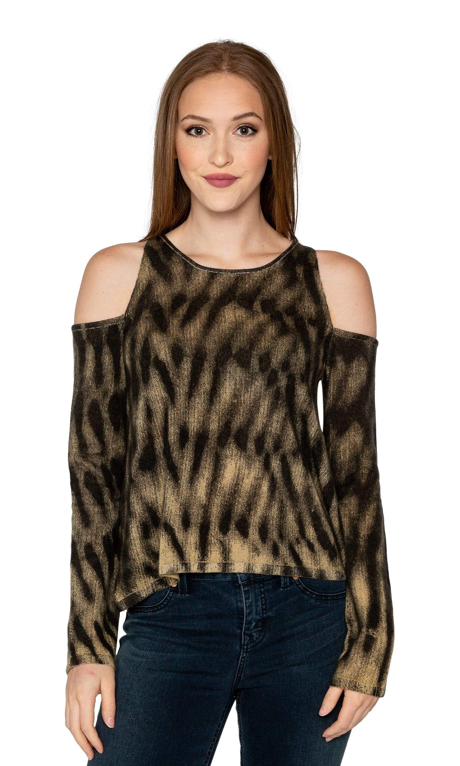 Knitwit Cold Shoulder Cashmere Sweater - Black / Brown