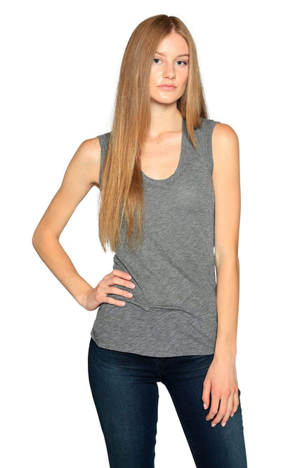 Velvet by Graham & Spencer Estina05 Scoop Neck Tank Top-Charcoal-Velvet-Vintage Fringe