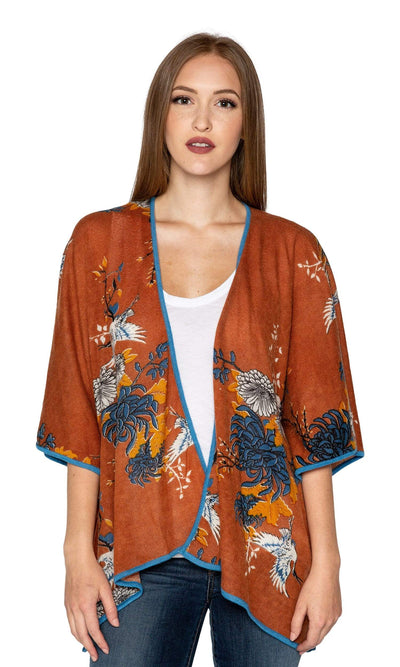 Knitwit Cashmere Kimono Cardigan - Japanese Floral