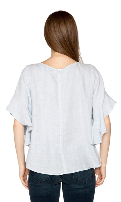 Velvet by Graham & Spencer Alberta Woven Linen Ruffle Sleeve Top