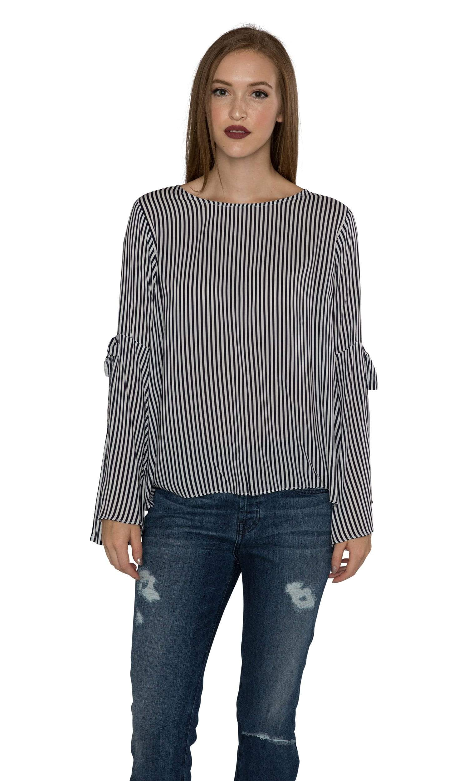 Velvet by Graham & Spencer Adia Vertical Stripe Bell Sleeve Top