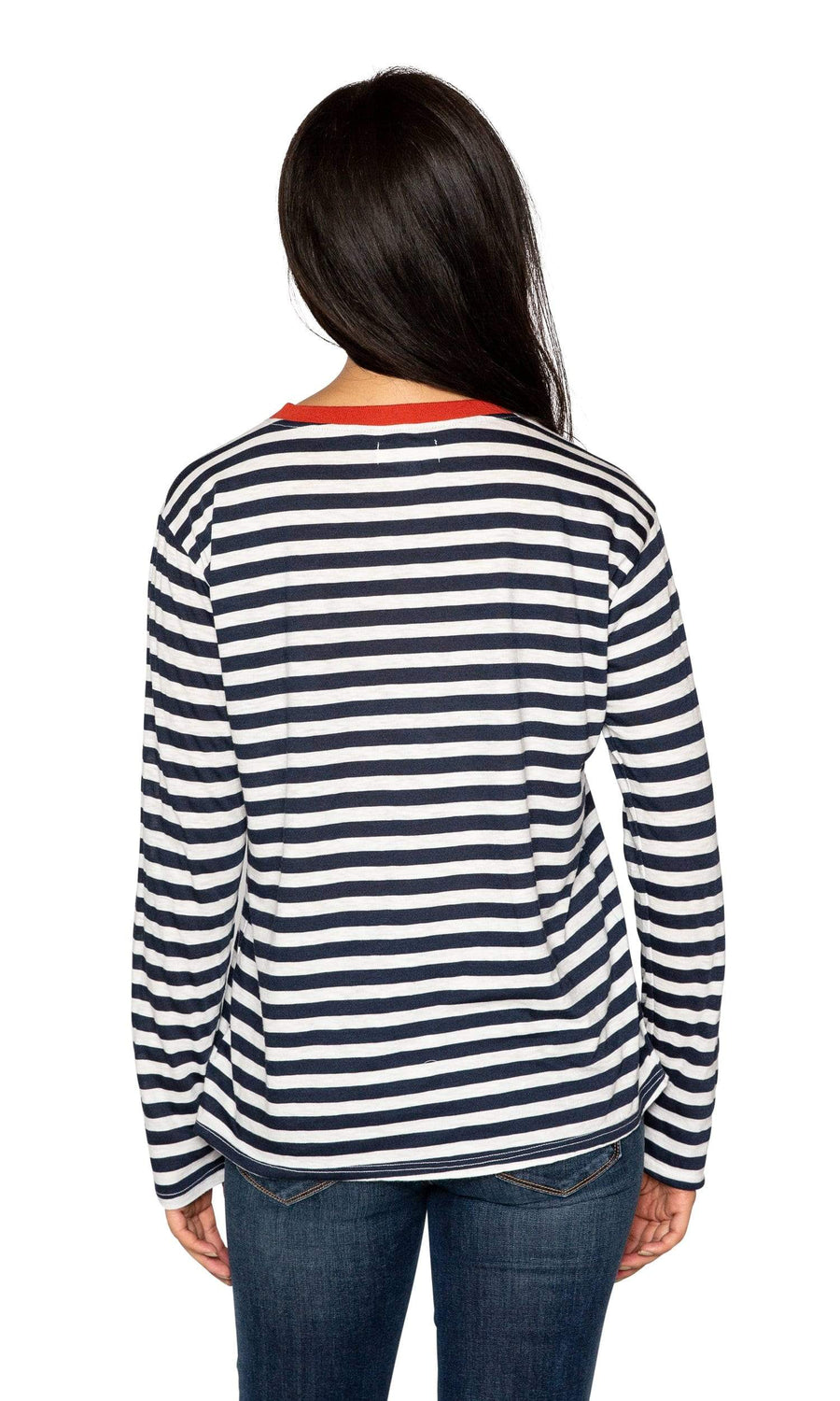 Velvet by Graham & Spencer Renny Slub Knit Stripe Long Sleeve Tee