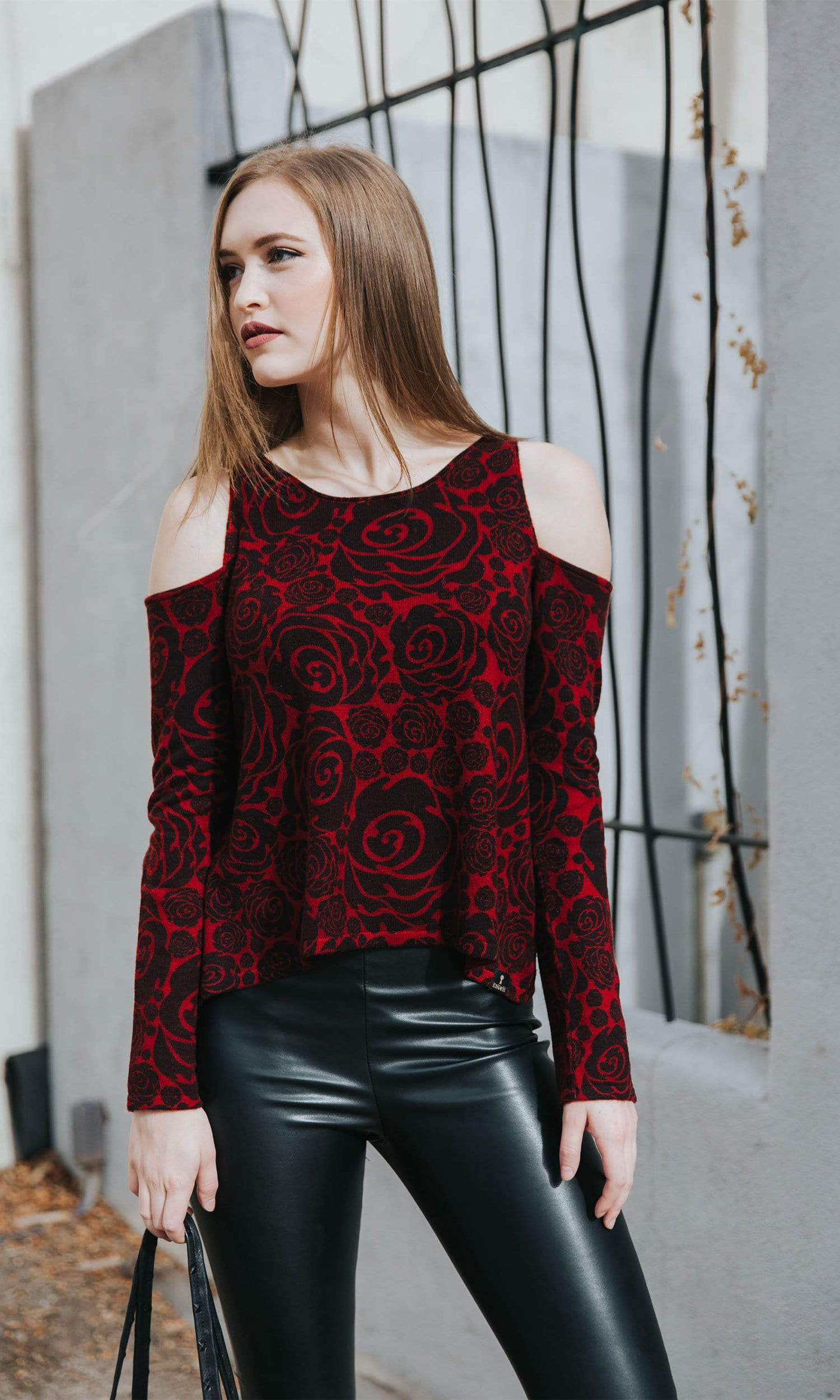 Knitwit Cold Shoulder Cashmere Sweater - Red Rose