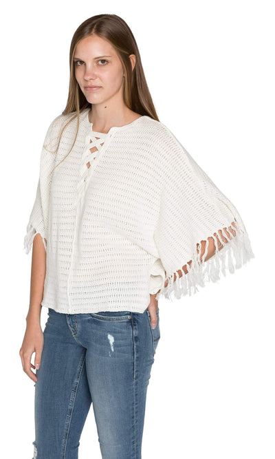 Velvet by Graham & Spencer Ashlie Crochet Knit Fringe Sleeve Sweater-Velvet-Vintage Fringe
