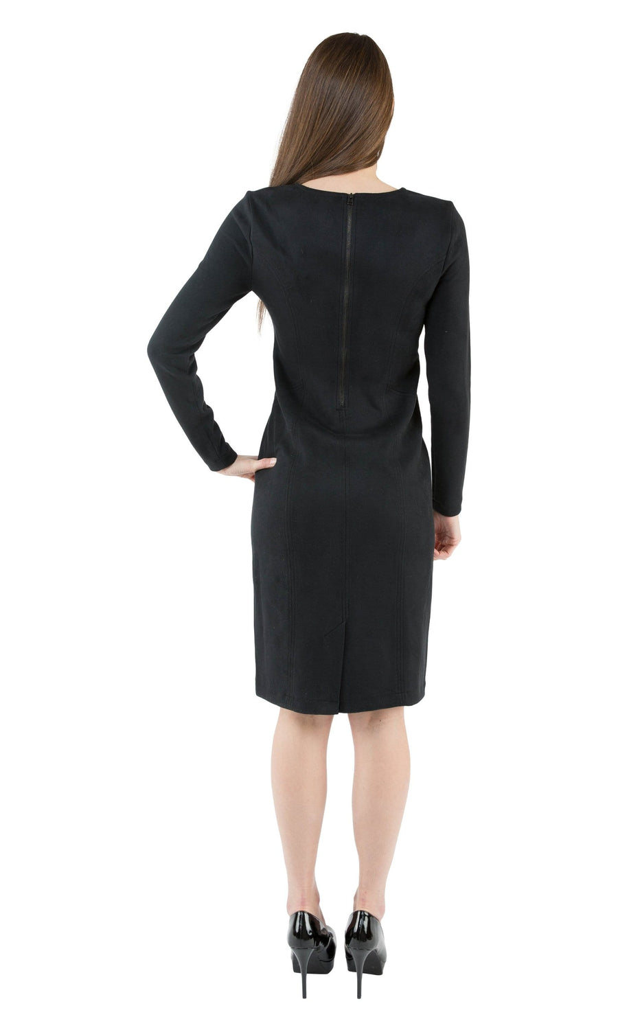 Level 99 Nev Long Sleeve Faux Suede Dress