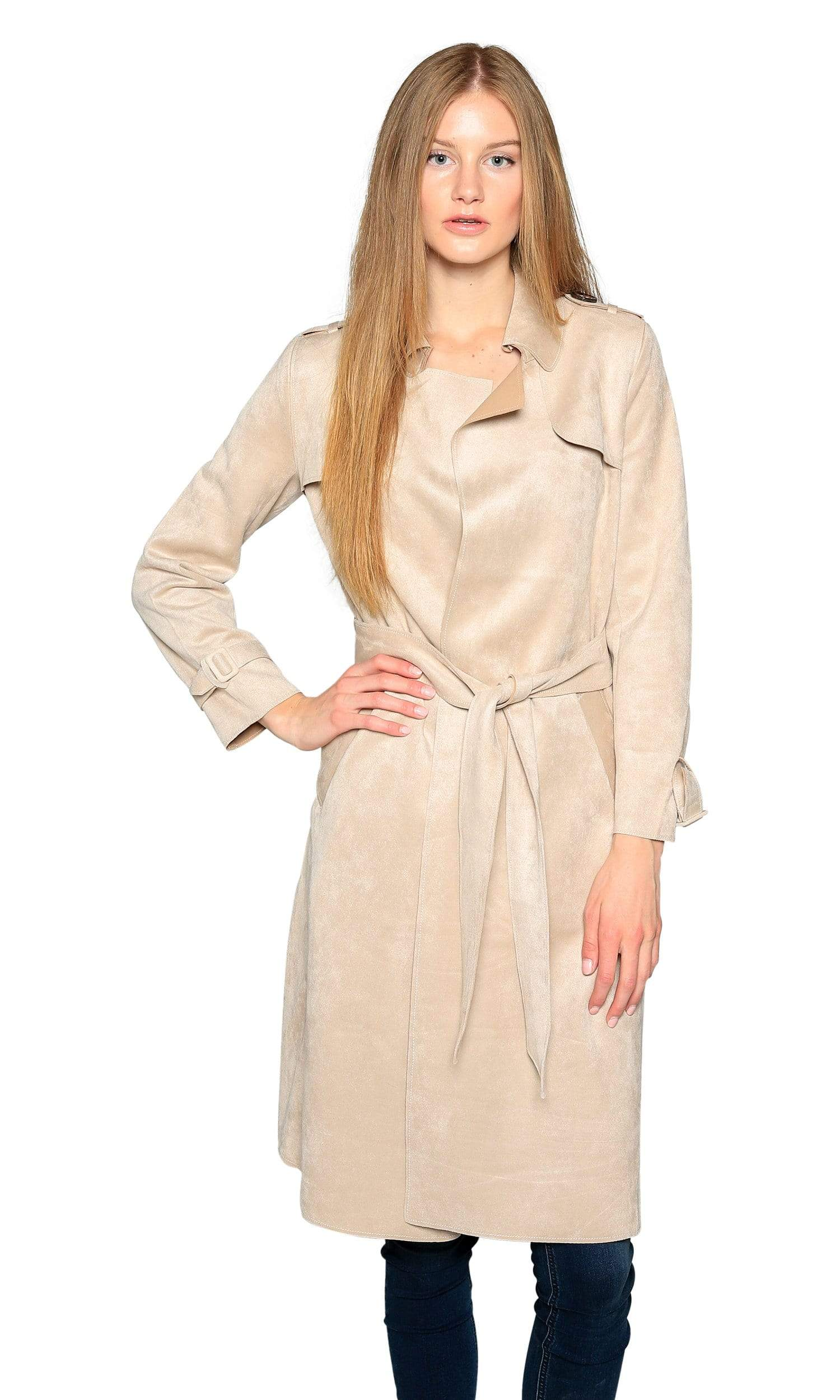Love Token Adrianna Faux Suede Trench Coat-Love Token-Vintage Fringe