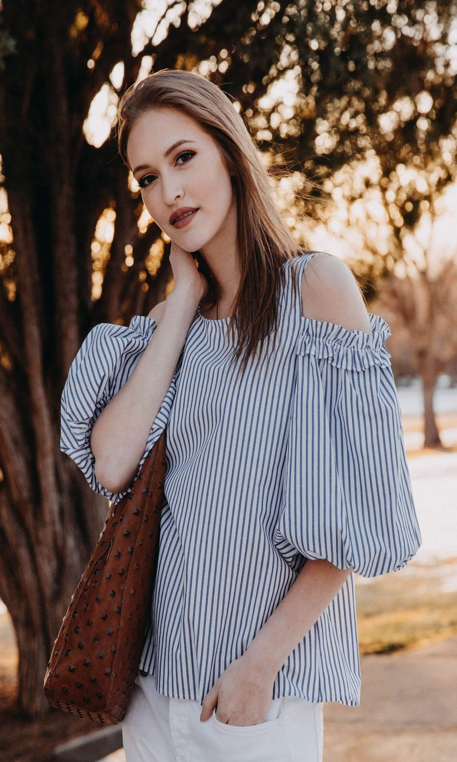 Velvet by Graham & Spencer Bruna Cotton Stripe Cold Shoulder Blouse