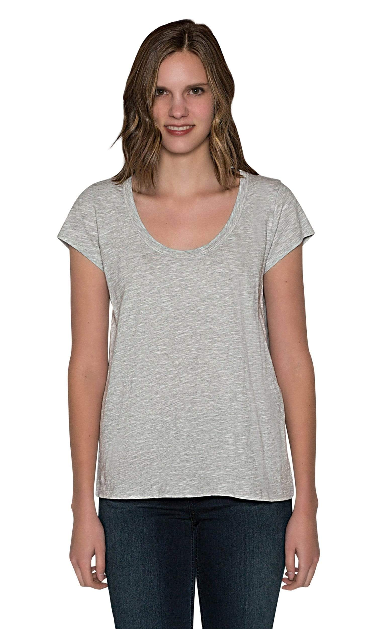Velvet by Graham & Spencer Kira Original Slub Scoop Neck Tee - Heather Grey
