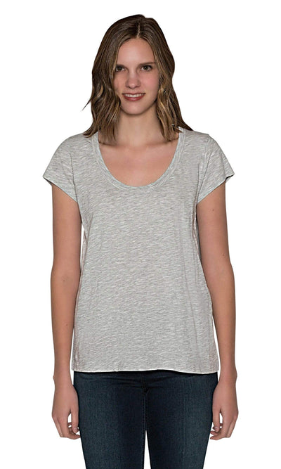 Velvet by Graham & Spencer Kira Original Slub Scoop Neck Tee - Heather Grey-Velvet-Vintage Fringe