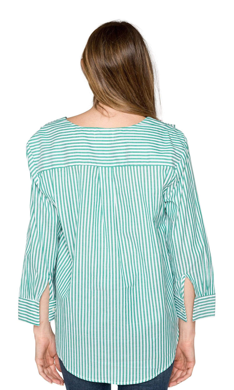 Velvet by Graham & Spencer Hama Striped Ruffle Front Button Up Top