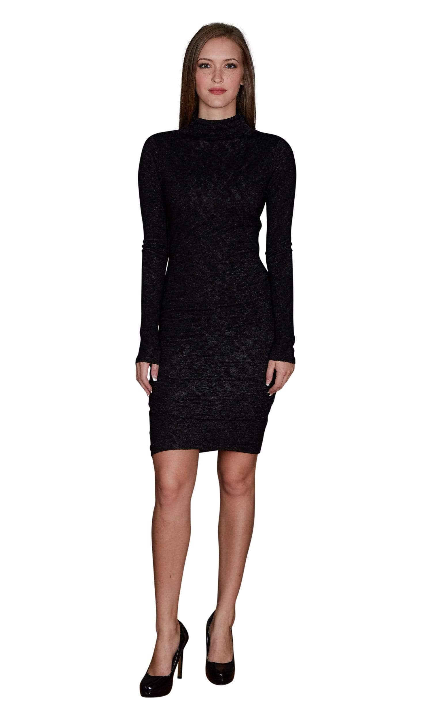 Velvet by Graham & Spencer Dacey Textured Knit Turtleneck Dress-Velvet-Vintage Fringe