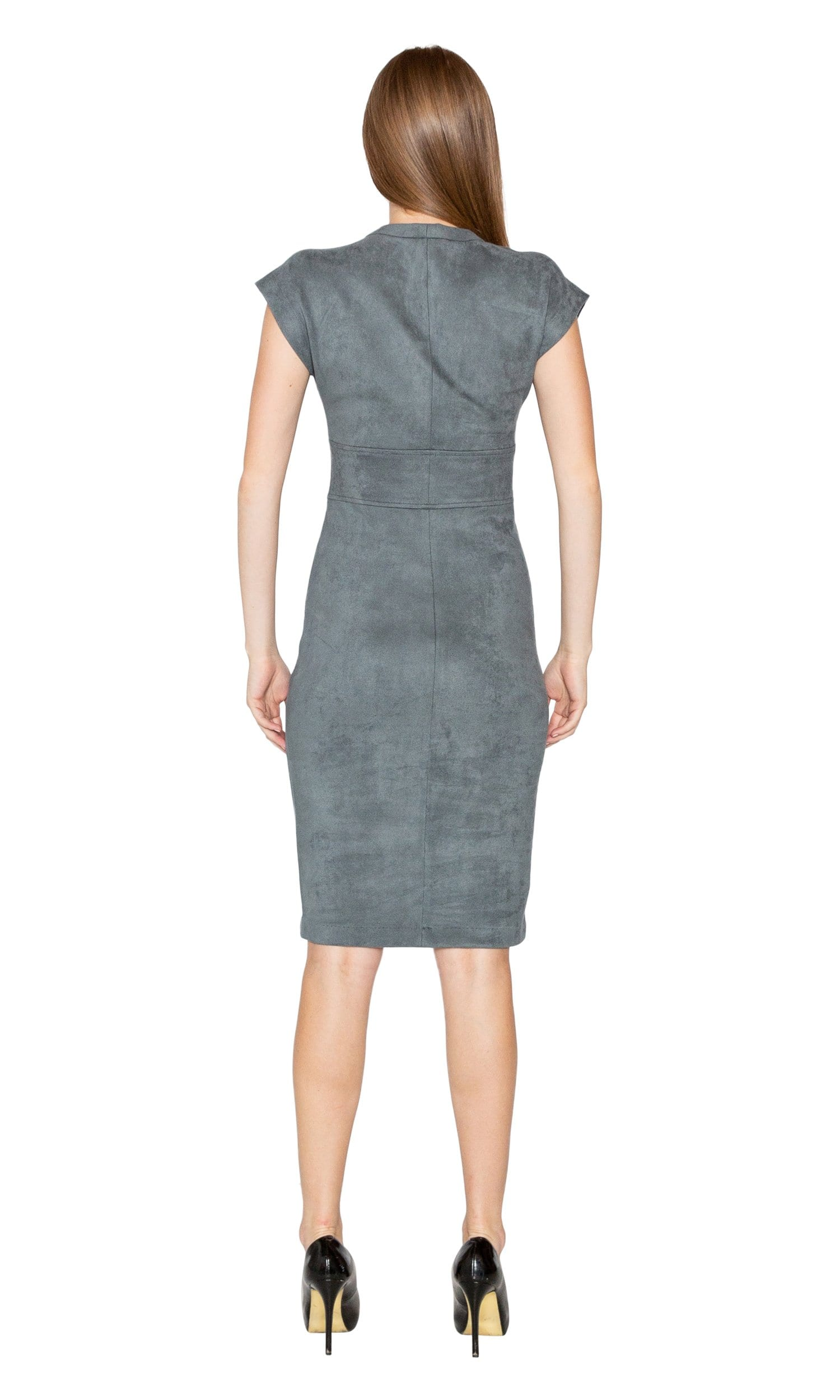 Level 99 Ivan Faux Suede Fitted Dress