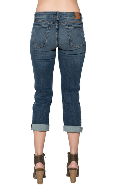 Level 99 Lily Mid Rise Crop Rollup Denim - East Shore