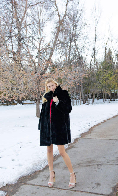 Love Token Turner Faux Fur 3/4 Length Coat
