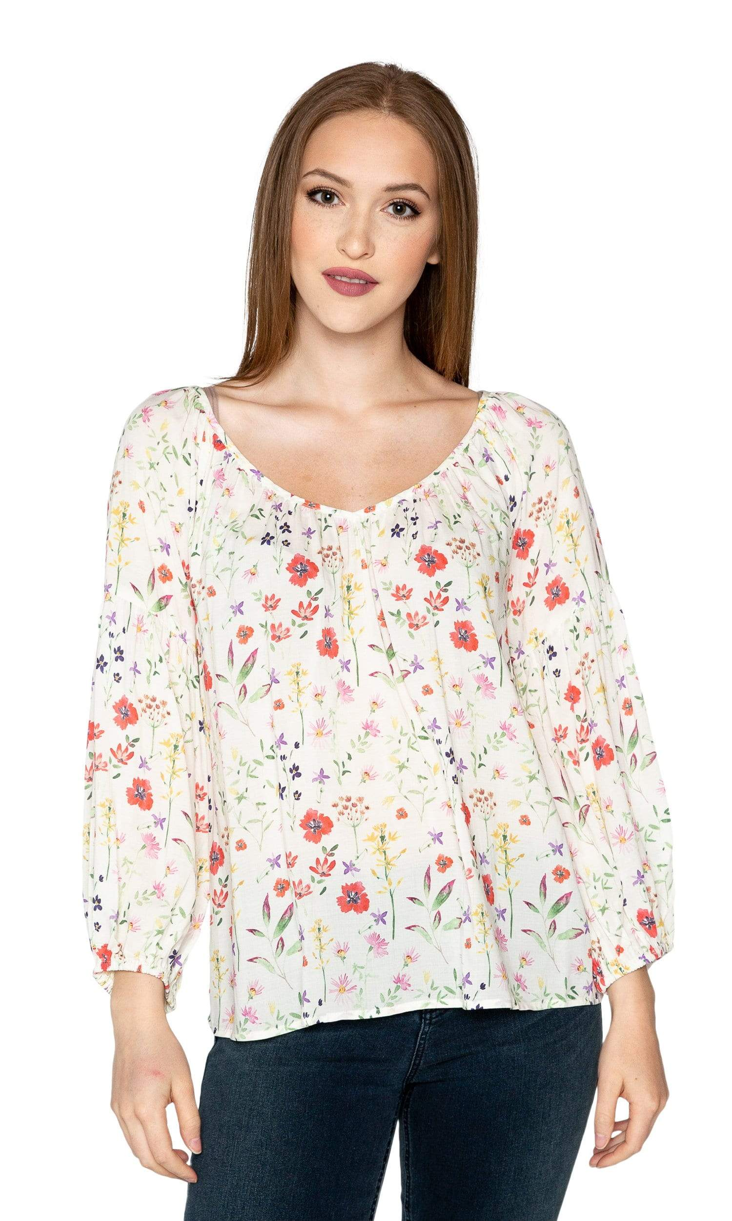 Velvet by Graham & Spencer Molina Spring Floral Peasant Blouse