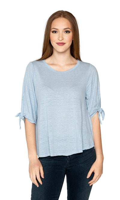 Velvet by Graham & Spencer Bianca Linen Knit Tie Sleeve Top