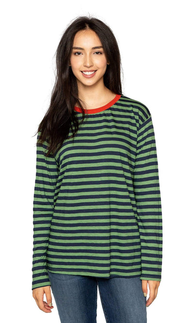 Velvet by Graham & Spencer Renny Slub Knit Stripe Long Sleeve Tee-Velvet-Vintage Fringe