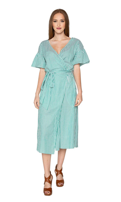 Velvet by Graham & Spencer Jayel Cotton Stripe Wrap Dress