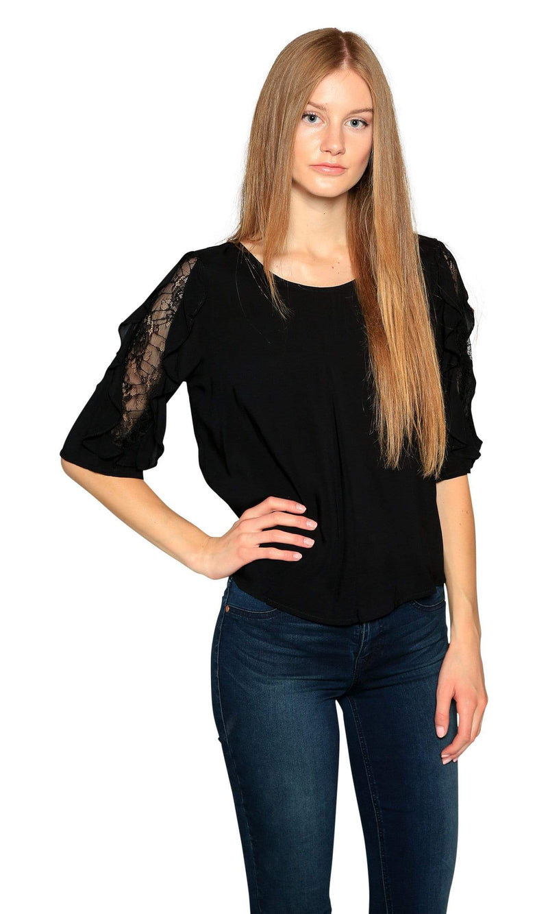 Velvet by Graham & Spencer Wrenley Lace Sleeve Challis Top