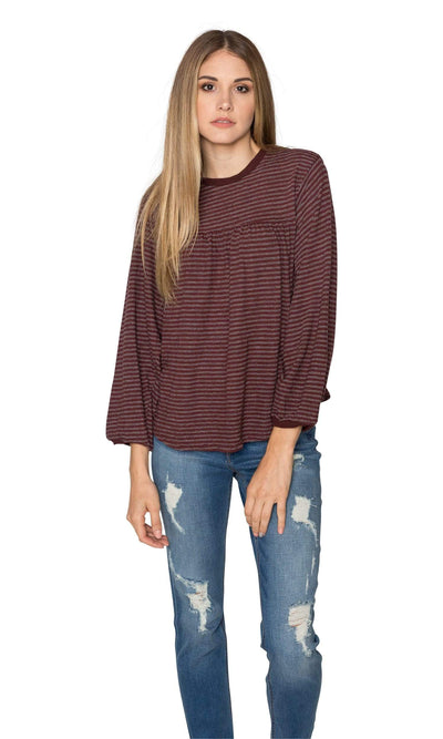 Velvet by Graham & Spencer Nanelle Vintage Stripe 3/4 Sleeve Top-Velvet-Vintage Fringe