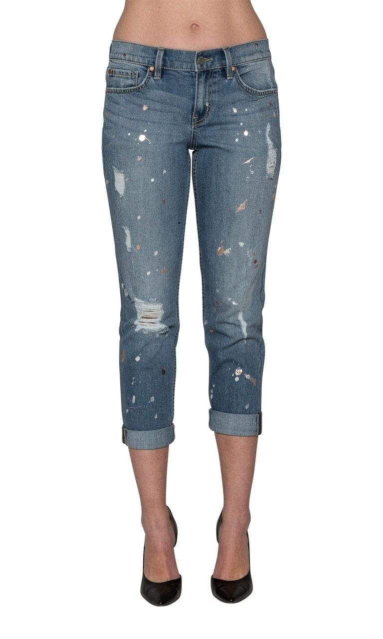Level 99 Sienna Tomboy Denim - Splatter