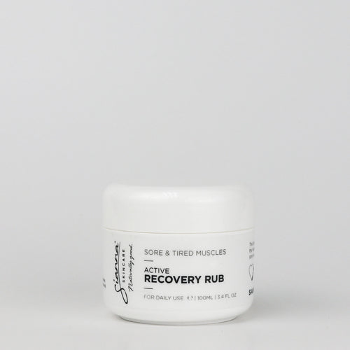 Sianna Skincare Active recovery rub aids recovery of tired muscles, helps warm muscles prior to exercise for performance in active exercise, running, cycling and any sports.