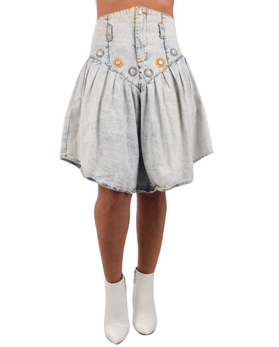 1980s Acid Wash Denim Drop Yoke Skirt - Fashion You Up