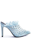Studded Point Toe Slip On Heel Denim Heels - Fashion You Up