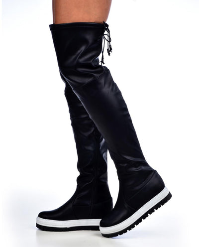 Over The Knee Faux Leather Flatform Boots - Fashion You Up