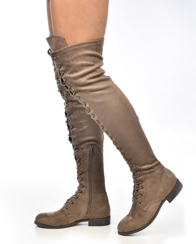 Ultra Suede Lace Up Thigh High Boots - Fashion You Up