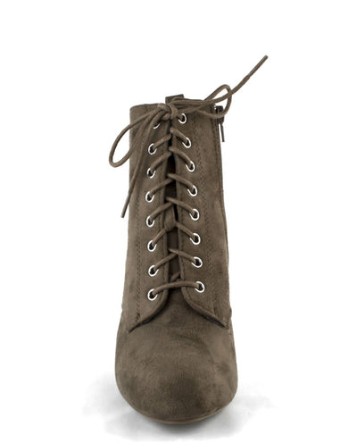 Faux Suede Lace Up Booties - Fashion You Up