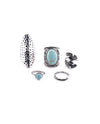 Turquoise and Gun Metal Ring Set - Fashion You Up