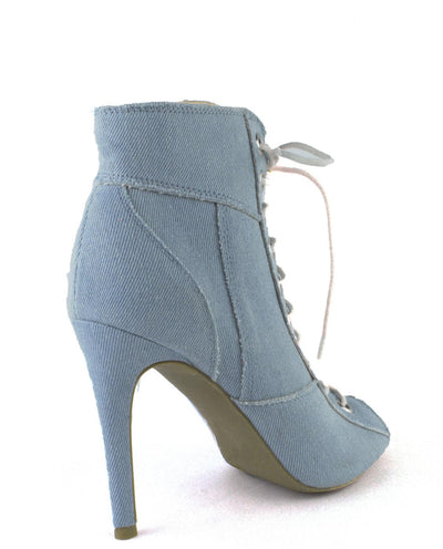 Lace Up Denim Heels - Fashion You Up