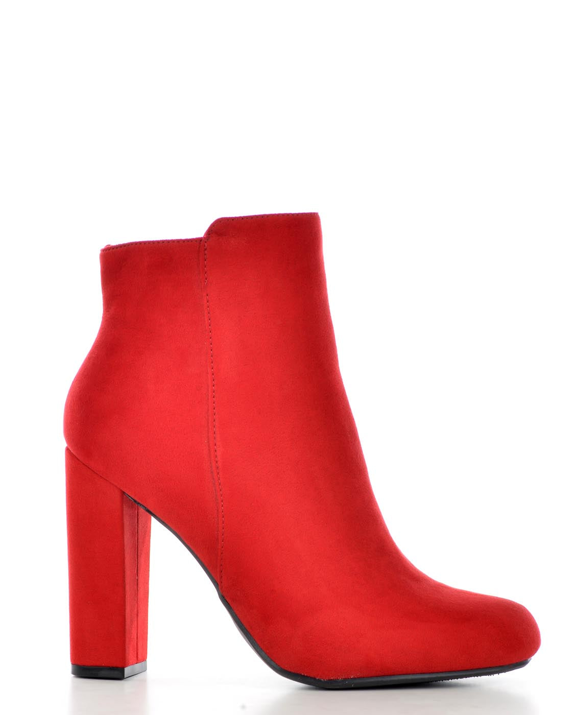Red Faux Suede Booties - Fashion You Up