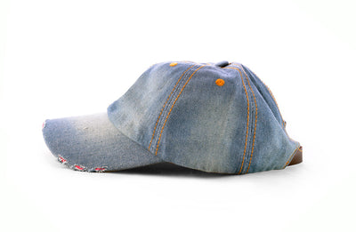 Distressed Denim Baseball Cap - Fashion You Up