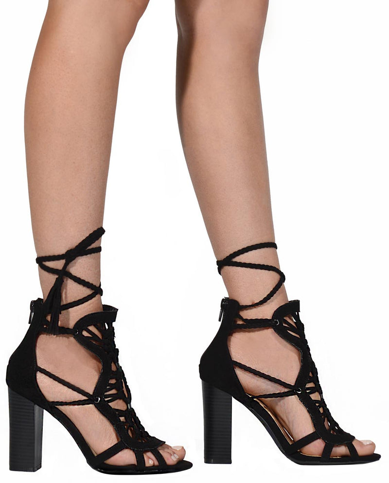 Faux Leather Lace Up Heels - Fashion You Up