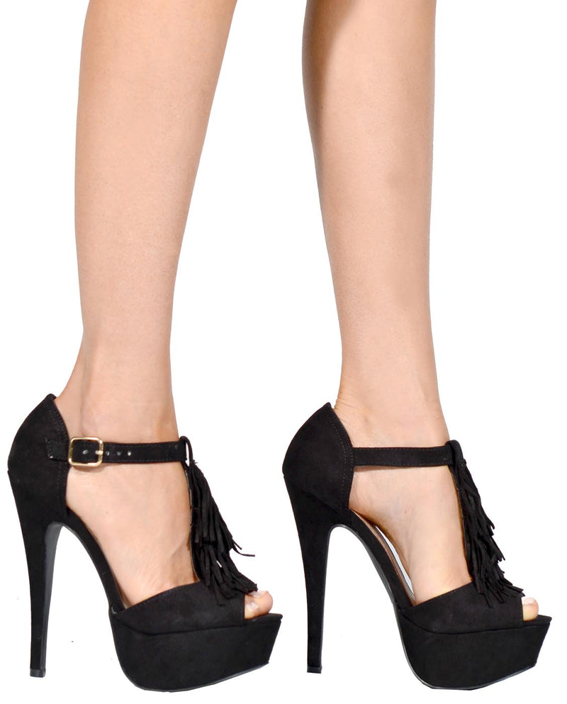 Peep-Toe Platform Heels with Tassel - Fashion You Up