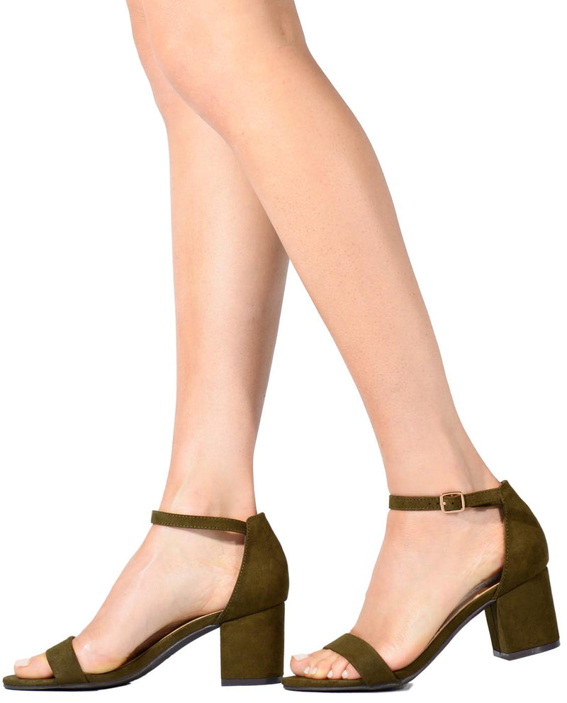 Faux Suede Block Heel Sandals - Fashion You Up