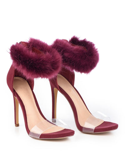 Faux Fur Ankle Strap Heels With Invisable Clousures - Fashion You Up