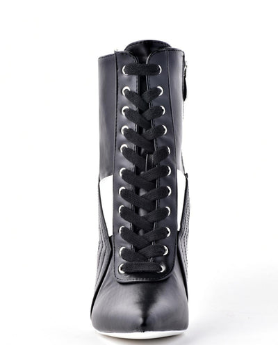 Faux Leather Lace Up Booties - Fashion You Up