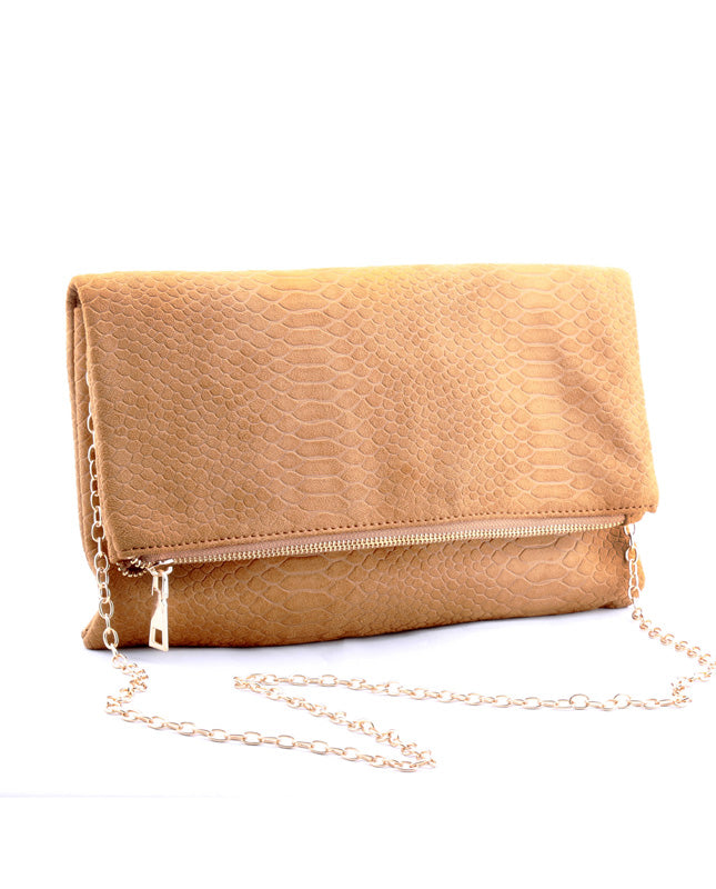 Textured Faux Suede Foldover Purse - Fashion You Up