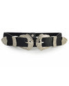 Silver Double Buckle Faux Leather Belt - Fashion You Up