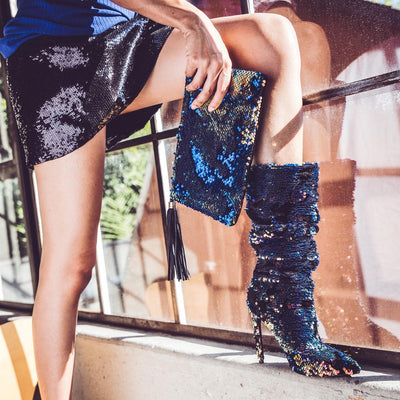 Sequin Slouchy Pointy Toe Boots - Fashion You Up