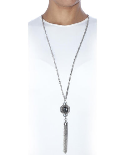 Black Gemstone Tassel Necklace - Fashion You Up